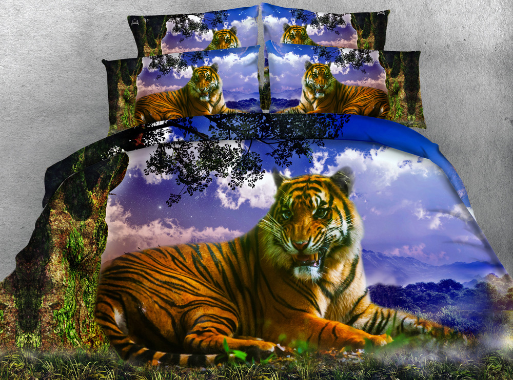 3d tree tiger bedding sets quilt duvet cover bed in a bag sheet linen bedspread cal