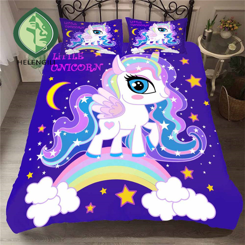 HELENGILI 3D Bedding Set Unicorn Print Duvet Cover Set Lifelike Bedclothes with Pillowcase Bed Set Home Textiles #DJS-82HELENGILI 3D Bedding Set Unicorn Print Duvet Cover Set Lifelike Bedclothes with Pillowcase Bed Set Home Textiles #DJS-82