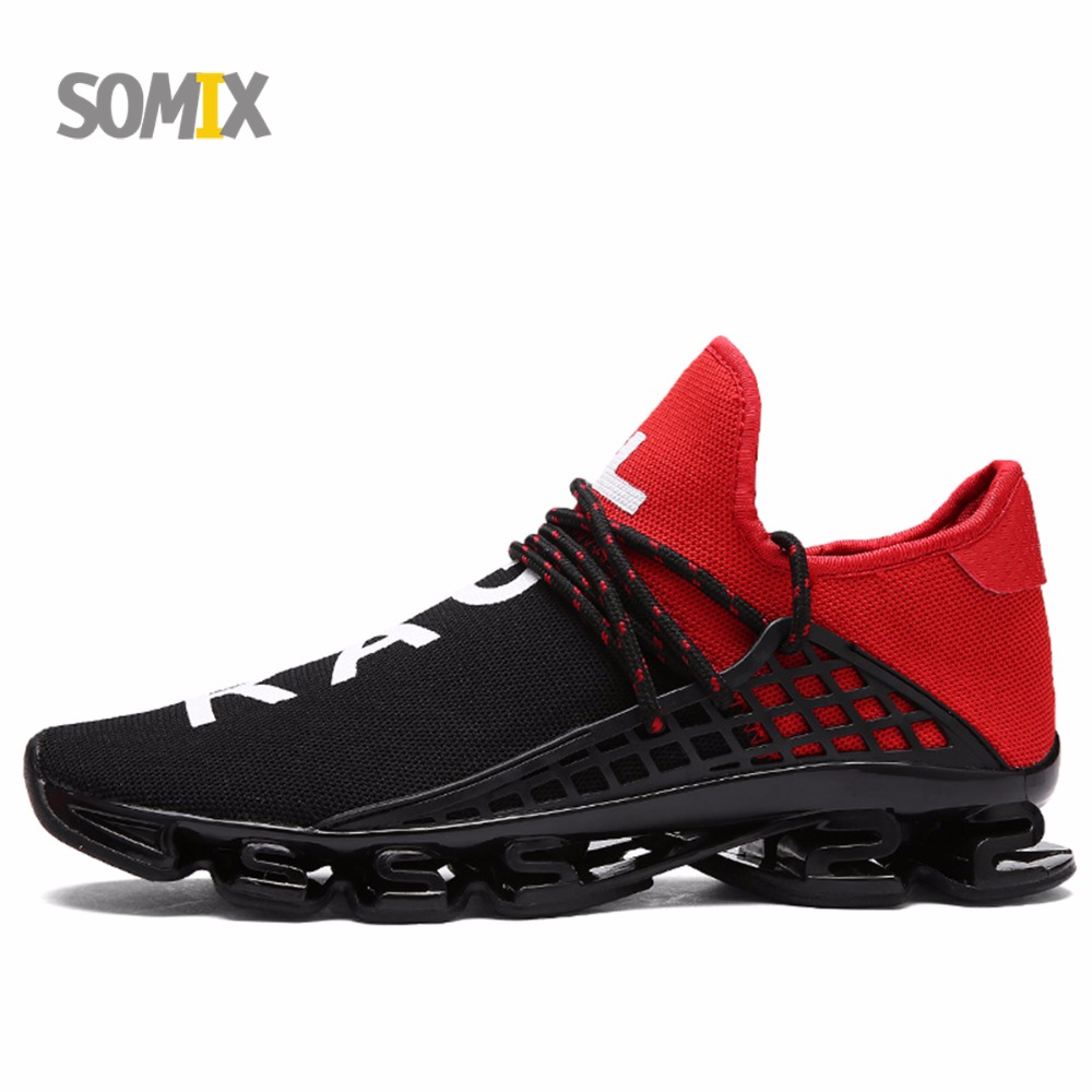 2017 New Somix Damping Cushioning Running Shoes for Men Mesh Breathable Sport Shoes Comfortable Slip-On Jogging Outdoor Sneakers