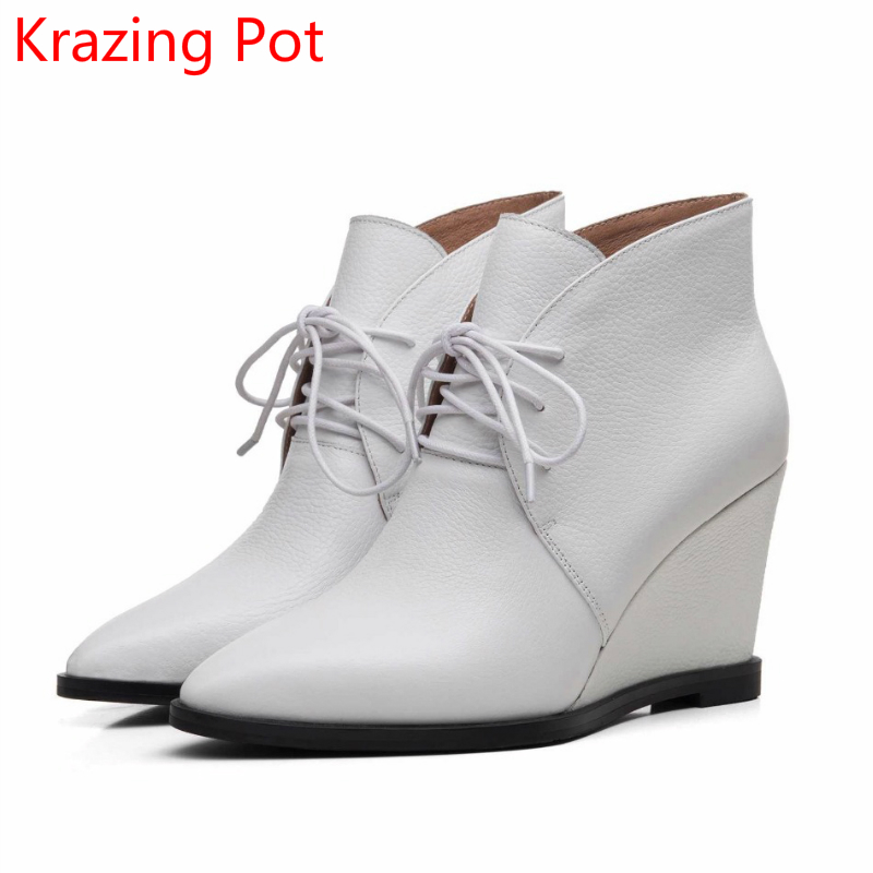 2018 New Arrival Genuine Leather Increased Pointed Toe Winter Boots Warm Lace Up Wedges Runway Fashion Ankle Boots for Women L97 new arrival women genuine leather flat ankle boots fashion round toe lace up ankle boots for women ladies casual cow suede boots