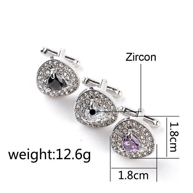Luxury Cufflinks Men's  Zircon Black /Purple Crystal Cufflinks 6