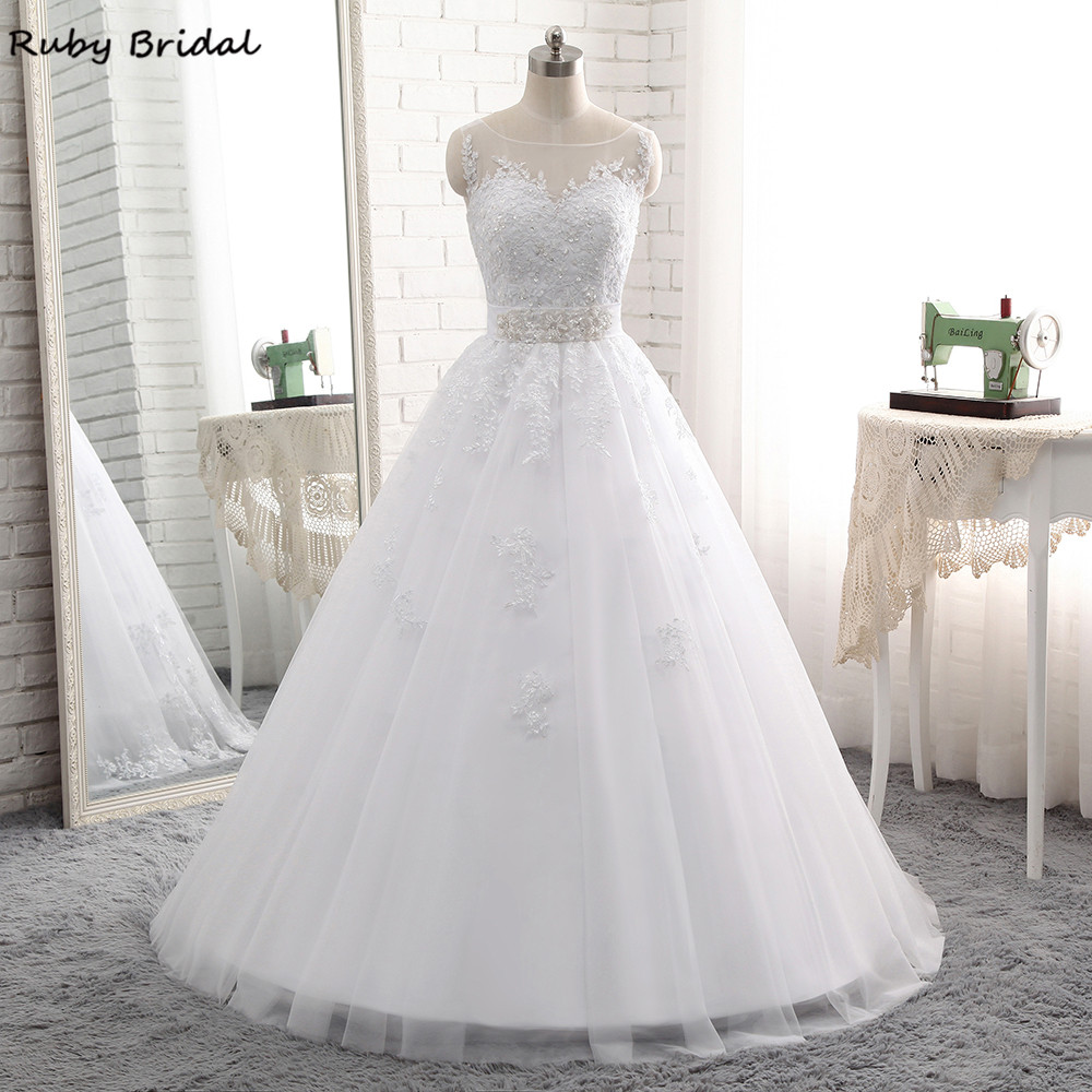 Ruby Bridal 2017 Elegant Vestido De Noiva Long Ball Gown Wedding Dresses Cheap White Tulle Appliques Beaded Bridal Gown PW69