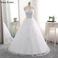 Ruby Bridal 2017 Elegant Vestido De Noiva Long Ball Gown Wedding Dresses Cheap White Tulle Appliques Beaded Bridal Gown PW69