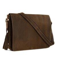 Vintage In Pelle Pieno Flap Messenger Borsa A Mano Laptop Bag Messenger Bag Satchel Bag Dropshipping 1053L