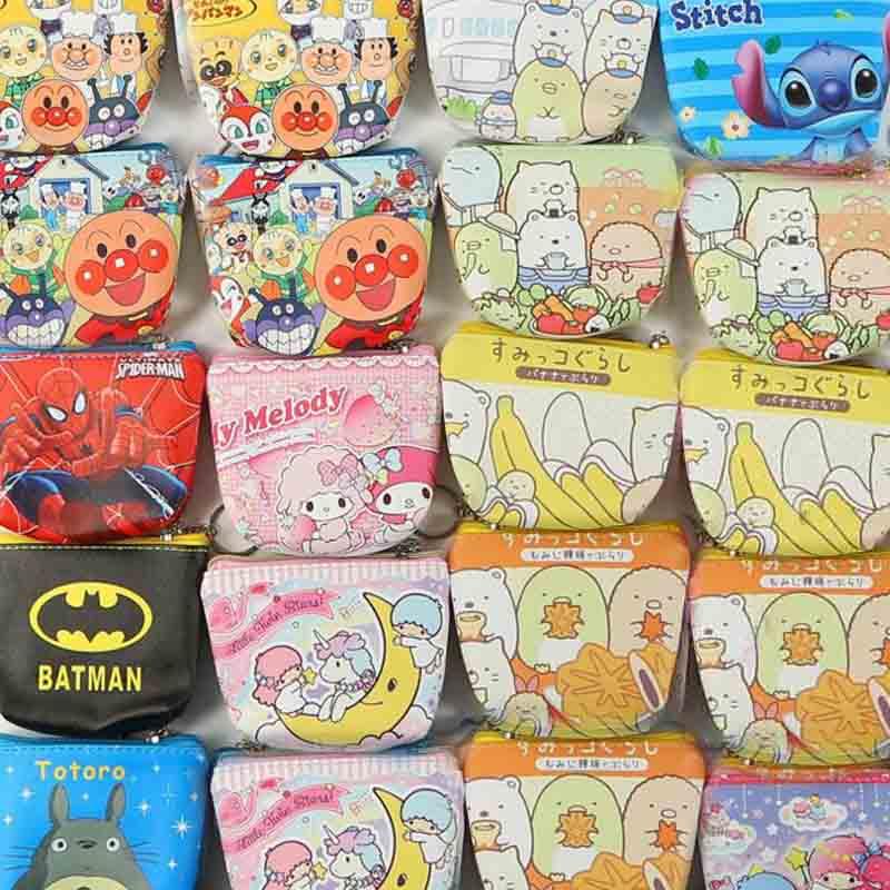 1 Pcs Kawaii Cat Twin Star My Melody Anpanman Coin Wallet Bag Zipper Coin Purse Stationery Coin Bags Card Holders