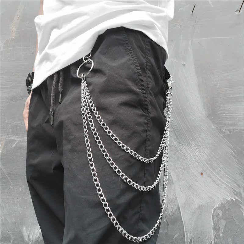 Long Silver Metal Wallet Belt Key Chain Rock Punk Trousers Keychain Hipster Jean Keychains HipHop Multilayer Chains Portachiavi