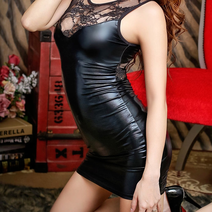 2015 women bandage sexy pu leather dress back party for Skin tight wedding dresses