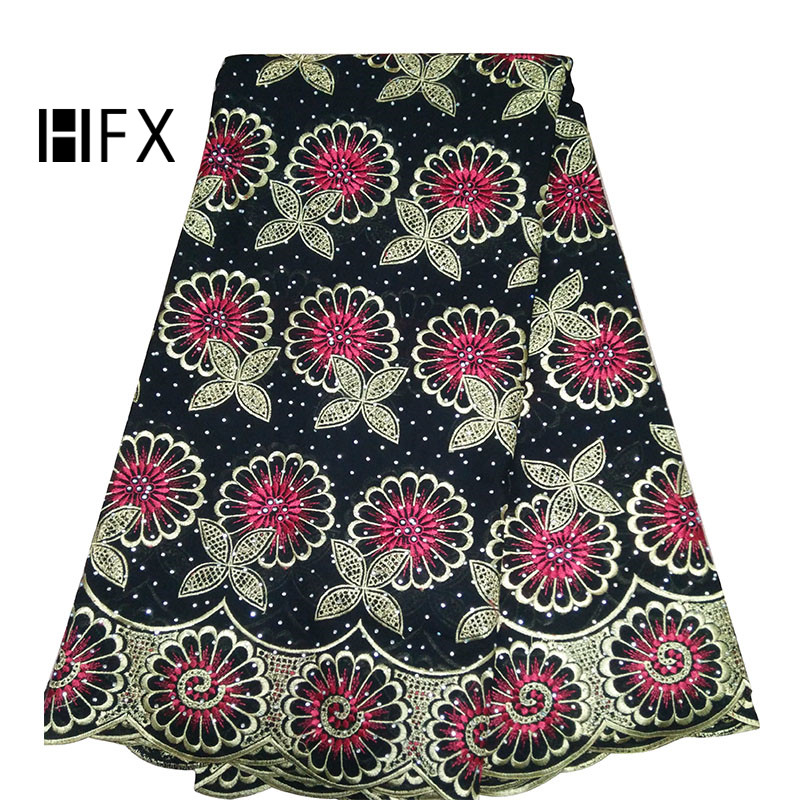 HFX Nigerian Lace Fabrics Black/Gold/Pink High Quality French Embroidery Cotton Lace 2019 Dress Swiss Voile Lace Fabric L296