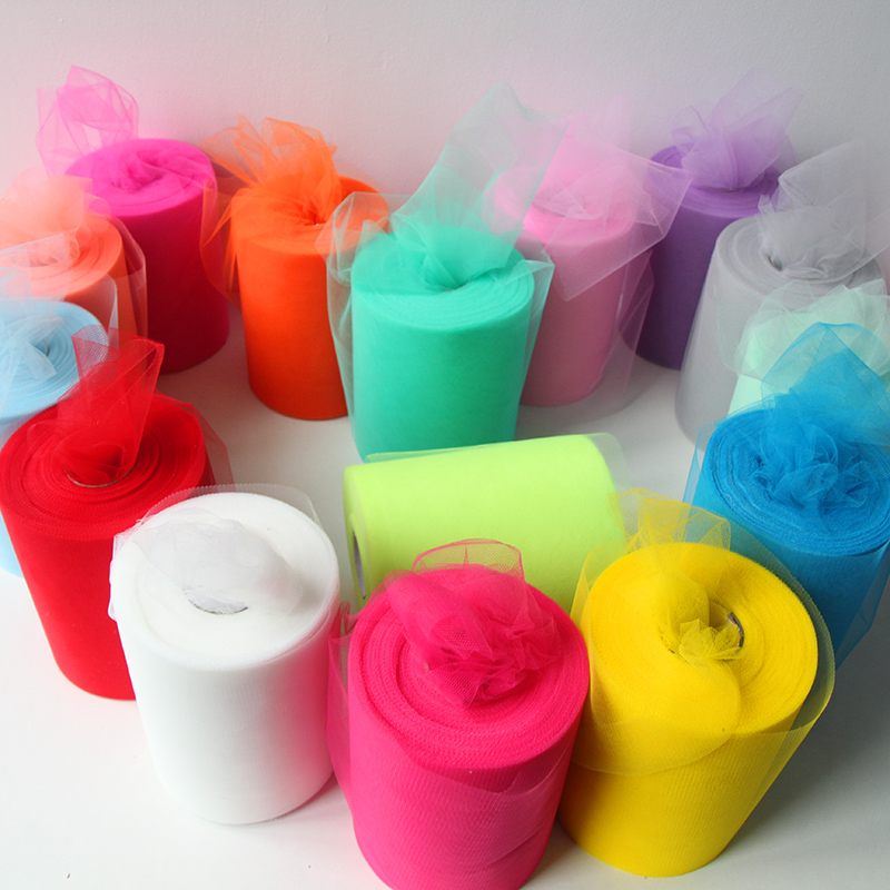 MEIDDING-100 מטרים 6 inch טול רול לחתונה מסיבת יום הולדת קישוט טול בד מתנה לעטוף תינוק מקלחת אספקה חגיגית