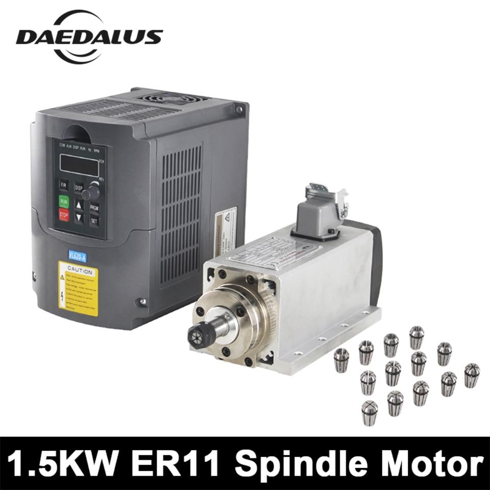 CNC Spindle Motor 1.5KW ER11 Air Cooled Spindle + 220V/110V VFD Inverter + 13PCS ER11 Collet Wood Router For Engraving Machine usb cnc3040z 4th axis laptop cnc router cnc engraving machine 800w spindle motor 1 5kw vfd 110v 220v