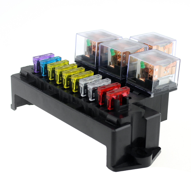 10 Way Fuse Box 5 Pin Socket Base Relay Fuse Holder Block with 13Pcs