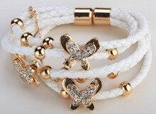 Mariposa de cuero de múltiples capas pulsera de oro plateado Xmas thanksgiving LA20 de vacaciones regalos de la joyería para las mujeres al por mayor dropshipping