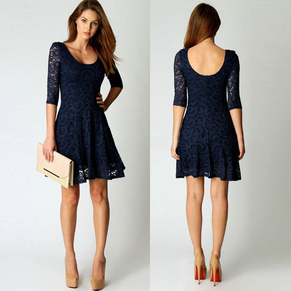 Fashion Women Summer Lace Dress Floral Vestidos Half ...