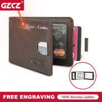 GZCZ Men Genuine Leather ID/Credit Wallet Vintage Small Wallets Card Holder Purse Free Engrave Portomonee Slim Wallets Money Bag