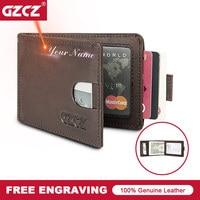 GZCZ Men Genuine Leather ID/Credit Wallet Vintage Small Wallets Card Holder Purse Free Engrave Portomonee Slim Wallets Money Bag