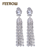 Almassa Luxury Design AAA Cubic Zirconia Diamond Bridal Tassel Earrings For Wedding White Gold Plated Dangle
