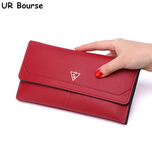 UR BOURSE Women's Pu Leather Long Wallet Ladies Clutch Bag Female Chain Coin Purse Card Holder Phone Bag Zipper Clutch Wallet 3 fold pu leather women wallet clutch famous brand design ladies purse card phone holder notecase clutch long burse coin pocket