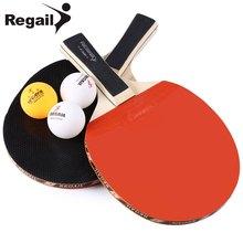 REGAIL A508 Durable Design Table Tennis Racket With Three Balls Ping Pong Racket Table Tennis Racket Two Long Handle