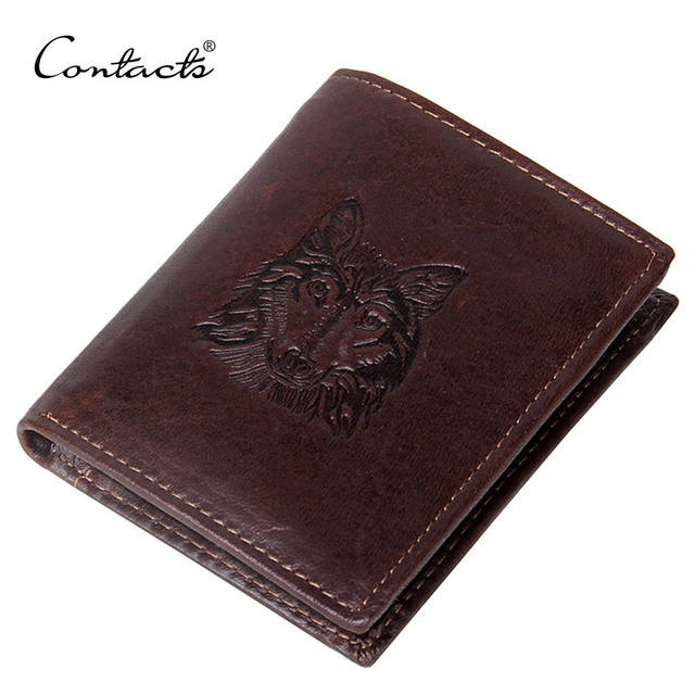 da00057c5343 US $9.95 |CONTACT'S Wolf Head Men Wallet Genuine Leather Wallet Fashion  Design Brand Wallet Leather Man Purse Coin Pocket Card Holder-in Wallets  from ...