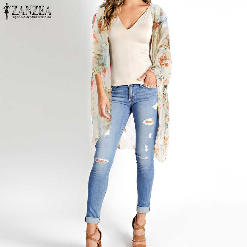 Bohemian Printed Kimono Cape Women Floral Tops 2020 ZANZEA Summer Chiffon Blouse Cardigans Female Beach Cover Up Plus Size Tunic