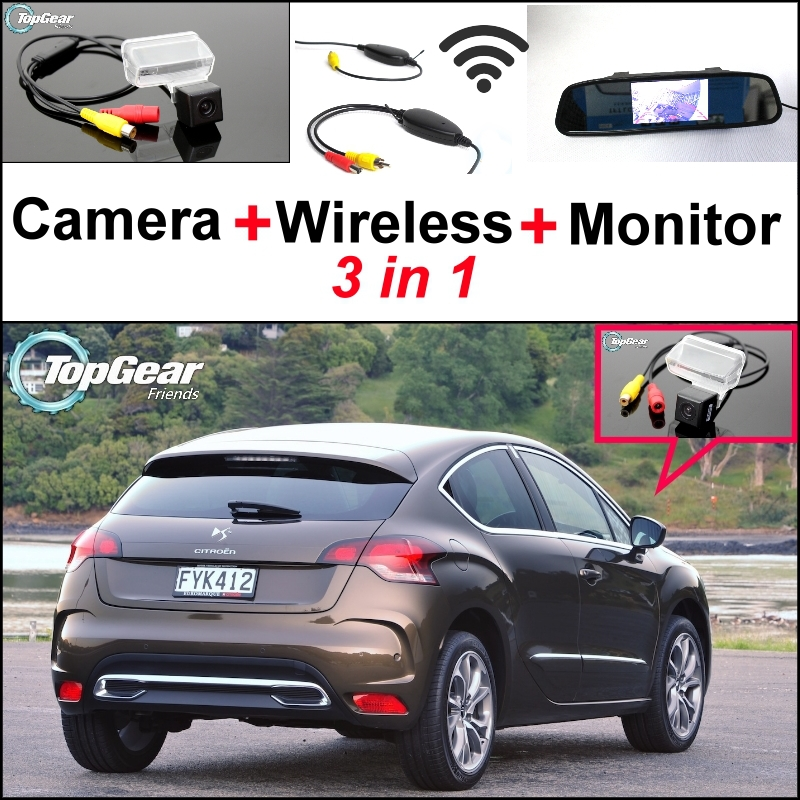 3 in1 Special Rear View Camera + Wireless Receiver + Mirror Monitor Easy DIY Parking System For Citroen DS4 DS 4 2010~2015 3 in1 special wifi rear view camera wireless receiver mirror monitor easy diy parking system for chevrolet malibu 2012 2014