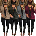 8 colors sexy deep V-neck lace up sweat t shirt women 2017 autumn women long sleeve t shirt club wear plus size clothing LZ004