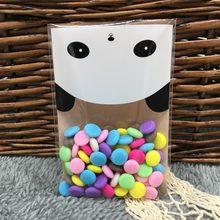 50 pcs Panda Auto Adesivo de Natal Presente Dos Desenhos Animados de Plástico Do Bolinho Pastelaria Biscoito Saco de Doces sacos de plastico doces natal