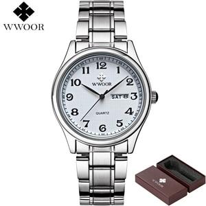 Image 4 - WWOOR reloj de cuarzo para hombre, reloj Masculino de pulsera, deportivo, informal, de acero inoxidable