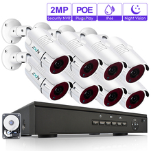 Zoohi 8CH 1080P Security Camera System Kits 48V POE NVR Kits 2.0MP HD IP Camera Waterproof Night Vision Onvif CCTV Camera System стоимость