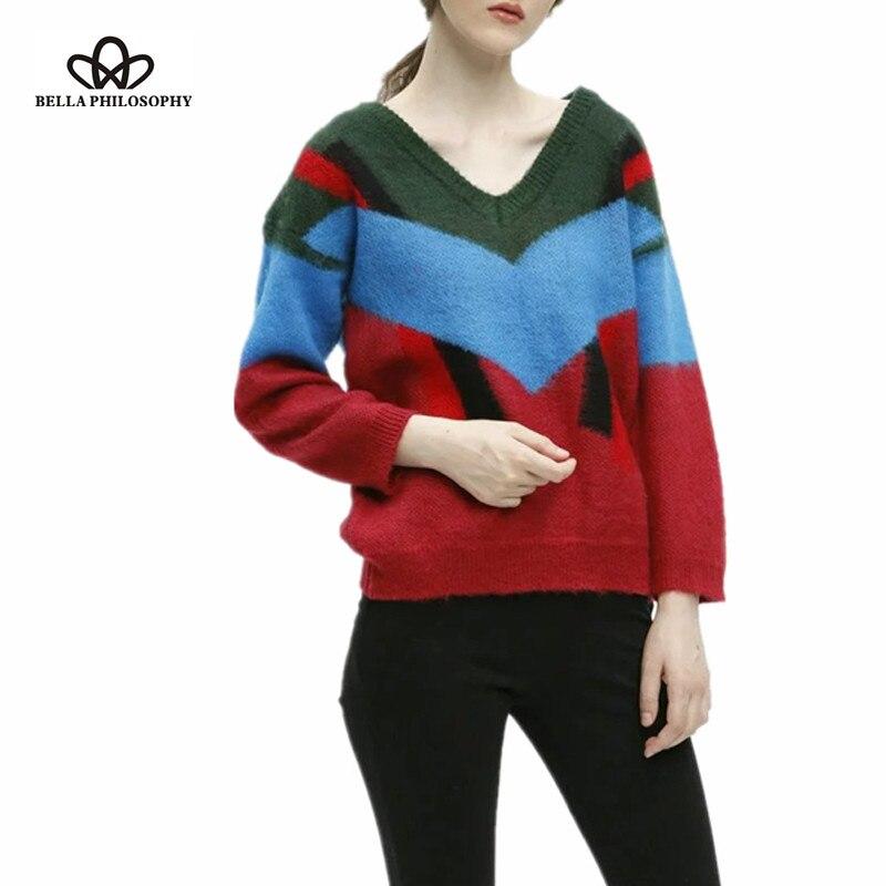 Bella Philosophy 2016 autumn winter new women's V neck striped ...