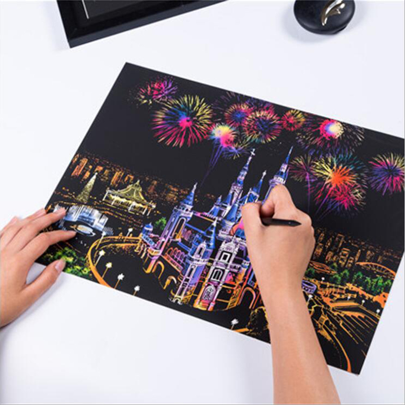 Kids Toy Baby Funny Toys For Boy Girl 40.5x28.5 cm in Magic Scratch Art Painting Paper With Drawing Stick Kids Toy