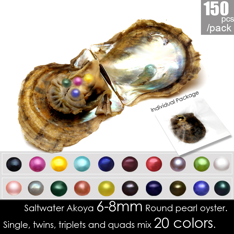 Wholesale individually vacuum packed 150pcs mix 20 colors 6-8mm Round Akoya single/twins/triplets/quads Seawater pearls oysters lgsy individually packed mixed 20 colors single and twins pearls oysters 90pcs 6 8mm saltwater akoya big surprise at a party