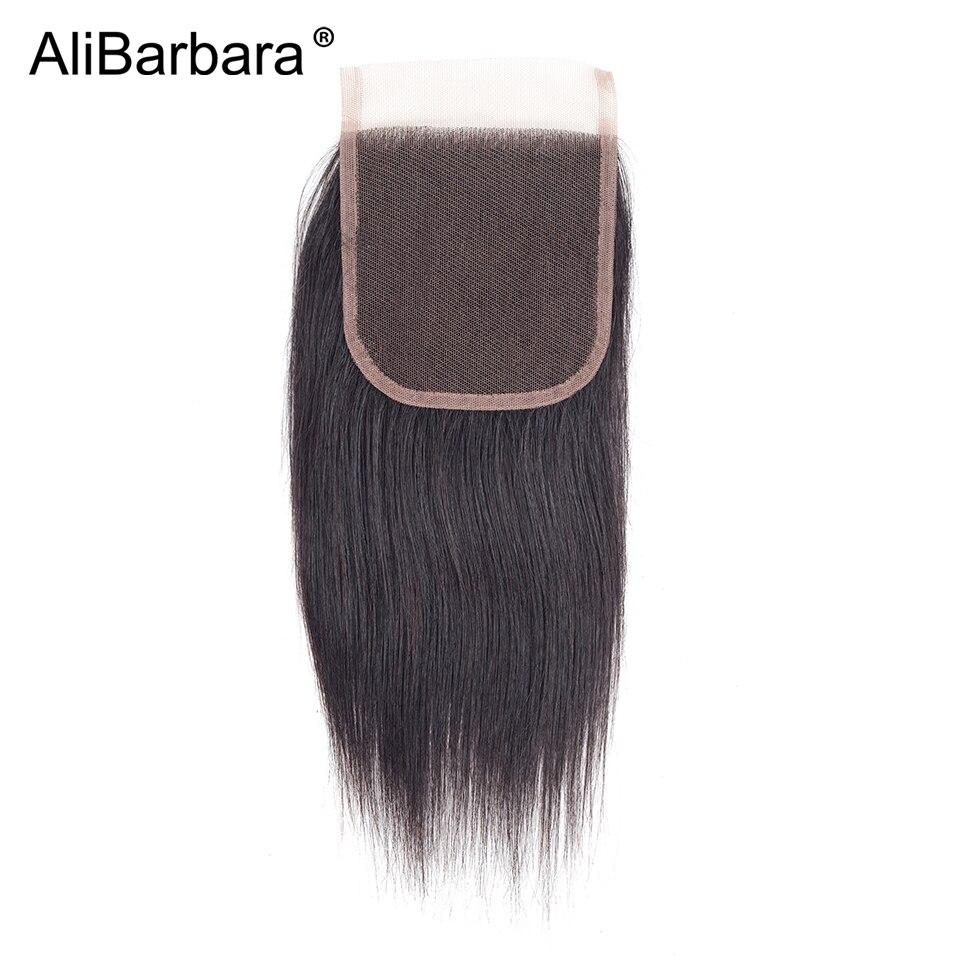 AliBarbara волосы прямые волосы Малайзии 4 шт. человеческих волос Связки с закрытием кружева 4x4 цвет природы Волосы remy ткет расширение