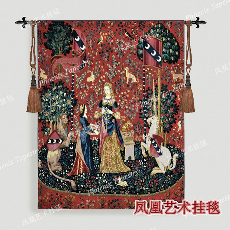 Aubusson tapestry wall hanging series sense of smell big 139 105cm medieval dress women decorative home
