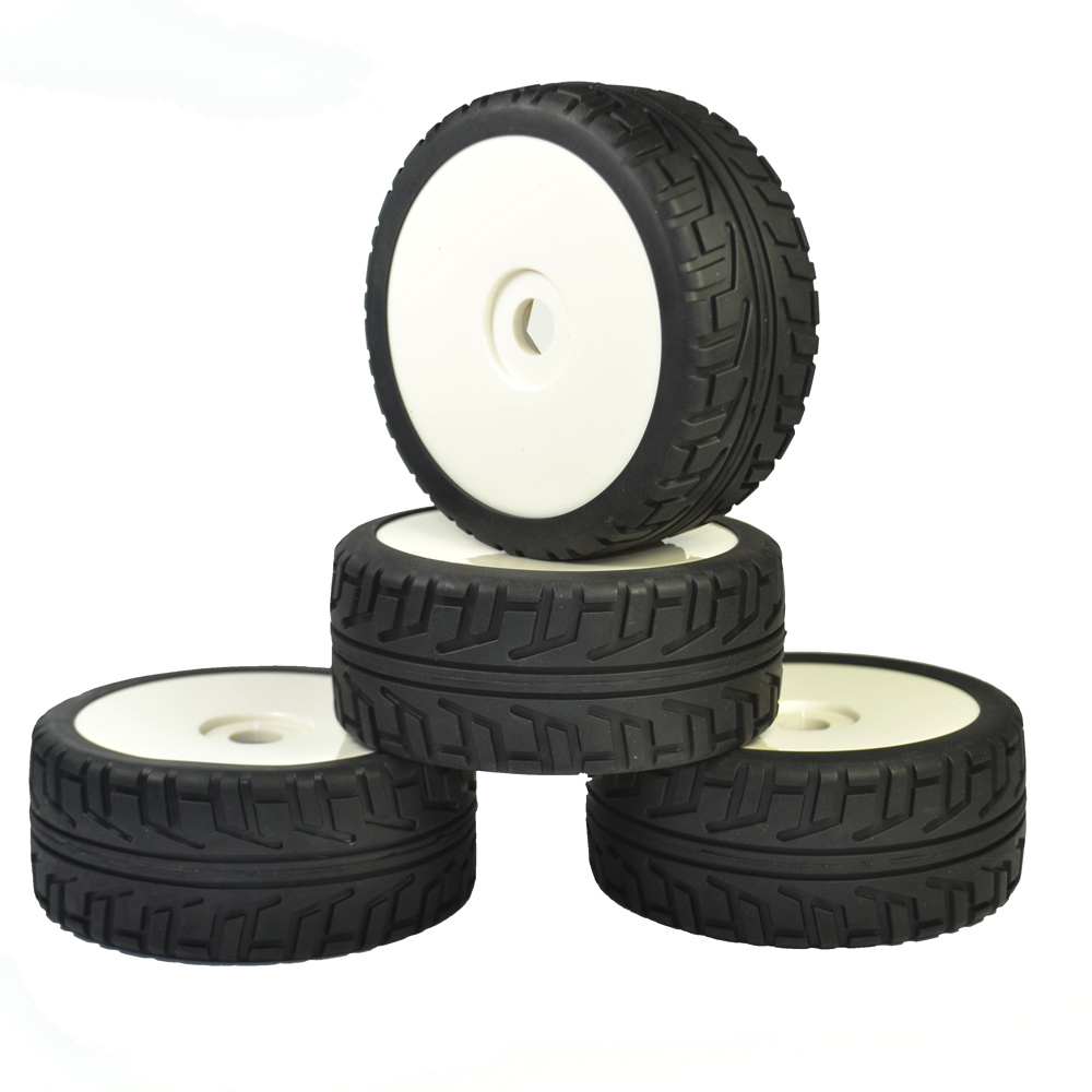 4PCS RC 1:8 On Road Car Buggy Rubber Tyre Tires & Plastic white Wheel Rims Street Tyres HUB HEX 17 mm Have foam inserts