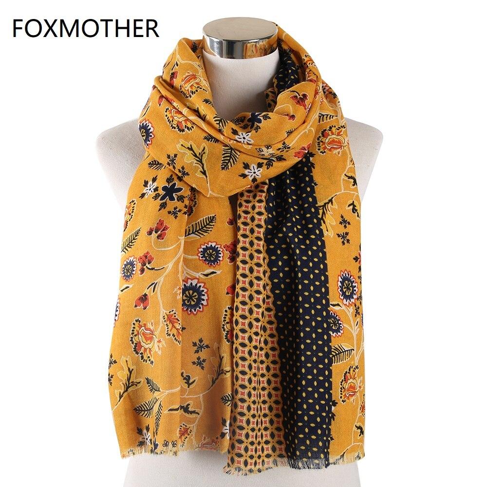 FOXMOTHER New Design Autumn Yellow Floral Scarfs Wraps Shawl Muslim Hijab Scarves Foulard Femme Pashmina Fashion Scarf 2019