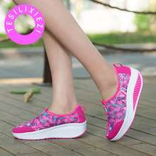 TESILIXIEZI Women Height Increasing Casual Shoes Breathable Fashion Wedges Platform Shoes Walking Flats Loafers Swing Shoes все цены