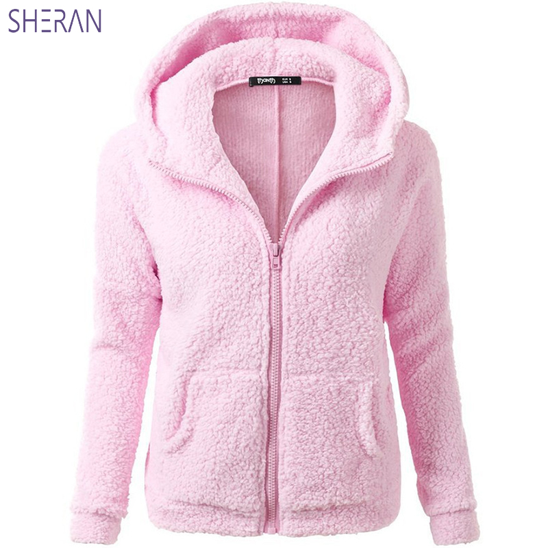 SHERAN Autumn Winter Women Hoodies Fleece Pink Hoodie Long Sleeve Zipper Thicken Coat Outwear Sudadera Mujer Sweatshirts Lady