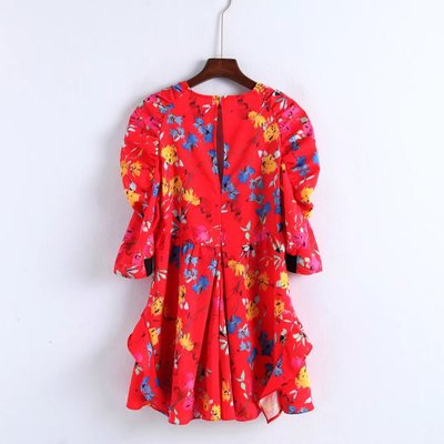 OYK8280 za Women european O-Neck summer floral print sexy beach Dress Hot Sale Women Clothing vestidos