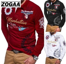 купить ZOGAA New Mens Polo Shirt Long Sleeve Casual Brand Letter Printed Men Polo Shirts 2018 Hot Shirt Tops Men Polo Plus Size S-3XL дешево