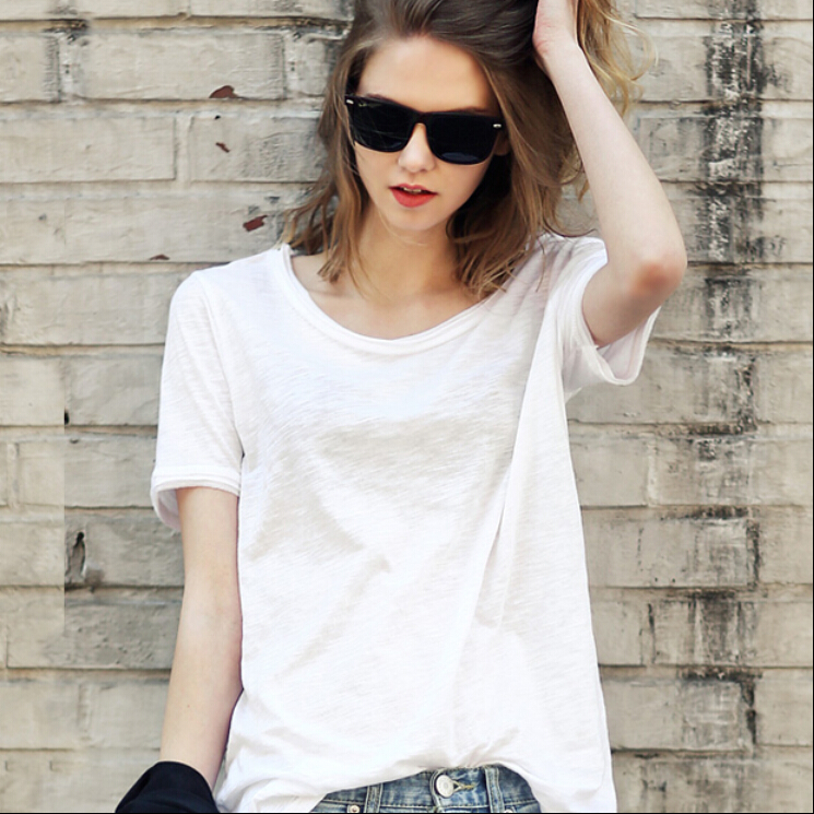Aliexpress.com : Buy Summer White Loose Cotton Casual T shirt O ...