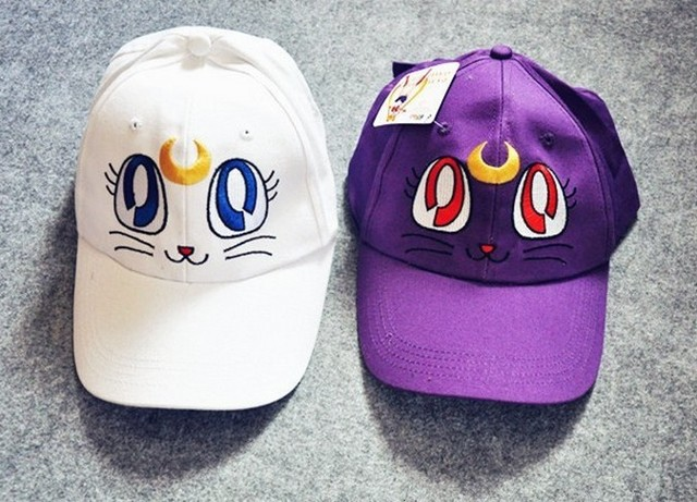 Free shipping Anime Sailor moon Fashion Hat Harajuku Luna Cat Baseball Cap Hat Cosplay Costume Accessory Hat New 01