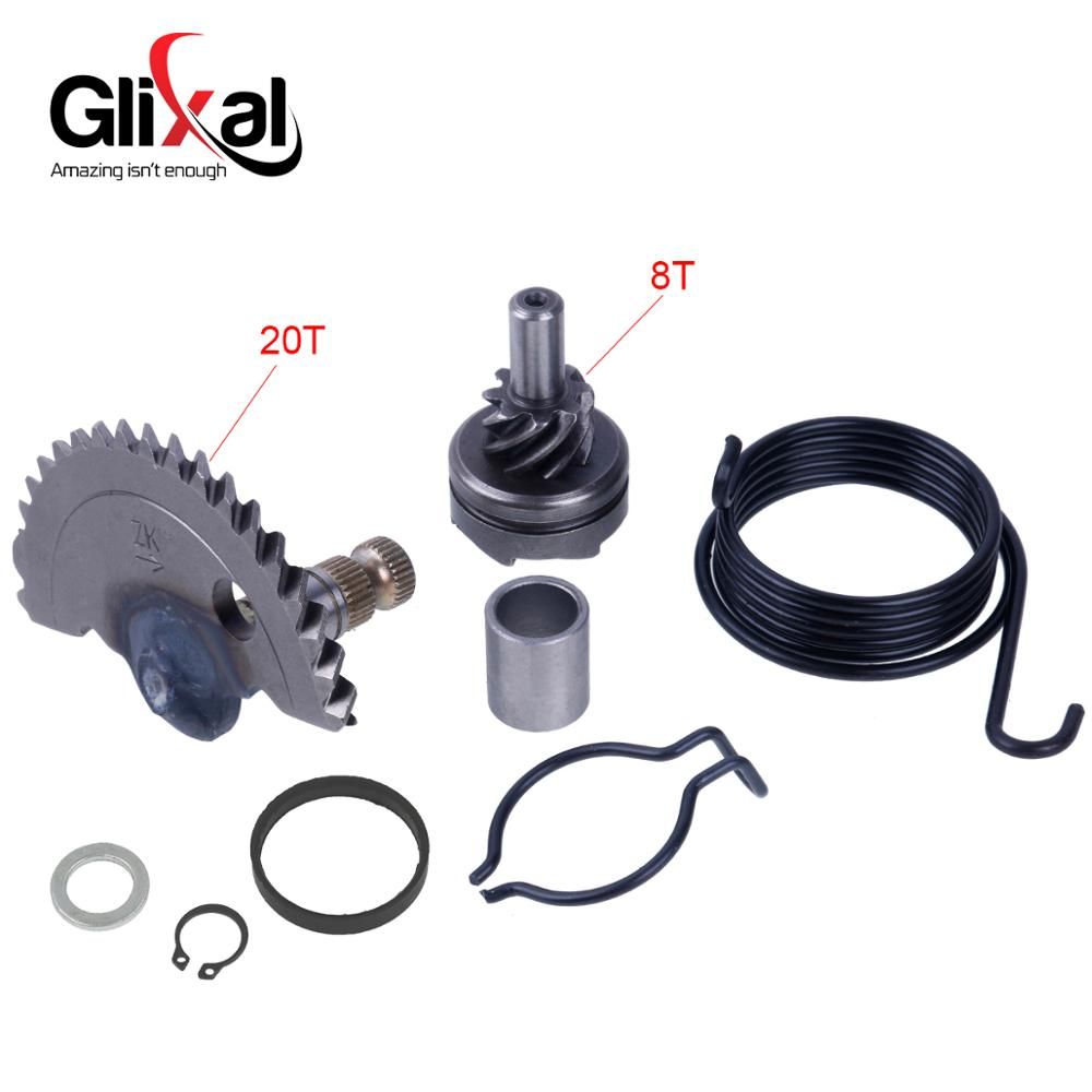 Glixal GY6 49cc 50cc 55mm Kick Start Shaft With Idle Gear Sets For Chinese 139QMA 139QMB Scooter Moped ATV (20T+8T)