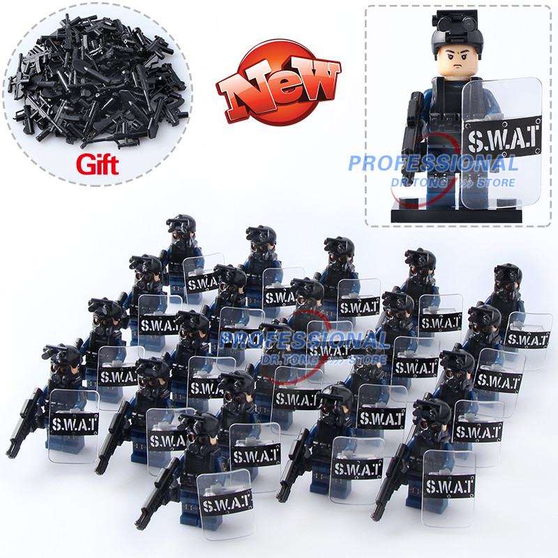 DR.TONG Military Modern Police Figure Police with Shield Weapon Bricks Building Blocks Mini Dolls Toys for Children Gifts 8 in 1 military ship building blocks toys for boys