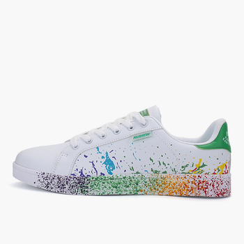Women Flat Sneakers Lace up Colorful Graffiti Platform Female PU Flats Fashion Ladies Walking Vulcanized Shoes 2021 Spring New 7