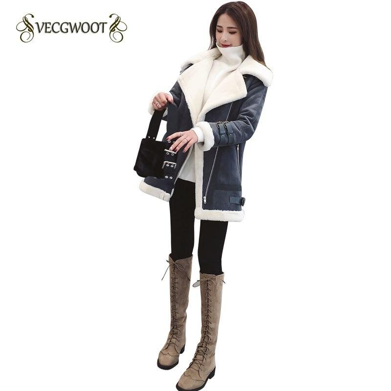 2018New Winter Women Cotton Jacket Fashion Medium long Slim Females Outerwear Turn down Collar Parkas lambswool
