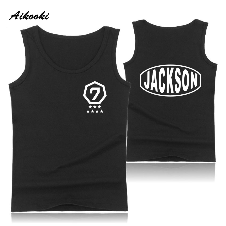 Aikooki GOT7 Vest Men Women Casual Sleeveless Cotton Breathable Tank Top Hip Hop Summer Male Female Fashion Vest Print Top Tees