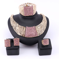 African Jewelry Set 18k Gold Plated Brown Austrian Crystal Rhinestone Women Wedding Necklace Bangle Earring Ring