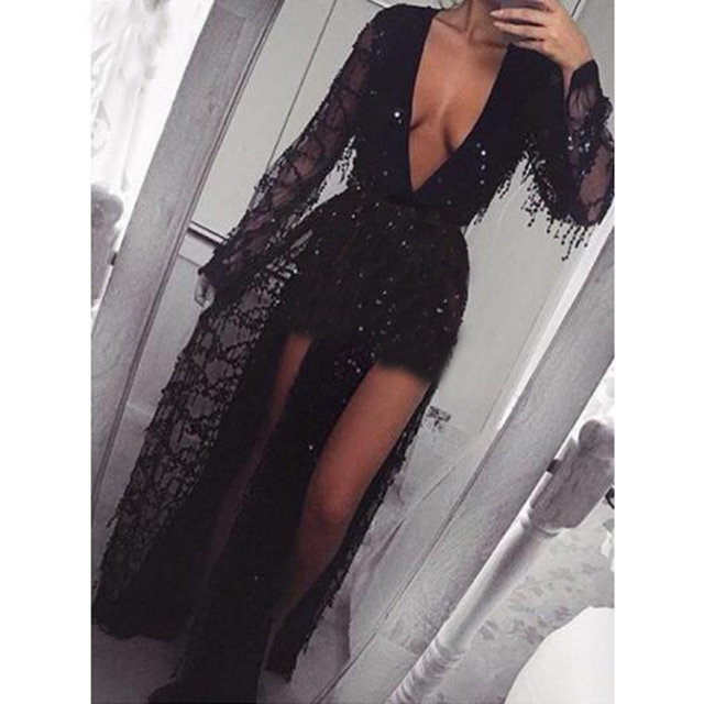de69bc3df7a19 US $38.88 |Sexy Black Sequined Mesh Deep V Neck Maxi Party Dress Double  Split Front Low Cut Hollow Out Long Dress Full Sleeved Club Dress-in  Dresses ...