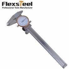 On sale Flexsteel Stainless Steel Shrock-Proof Precision 0-6inch/150mm Dial Caliper Vernier Capliper Accuracy 0.01mm